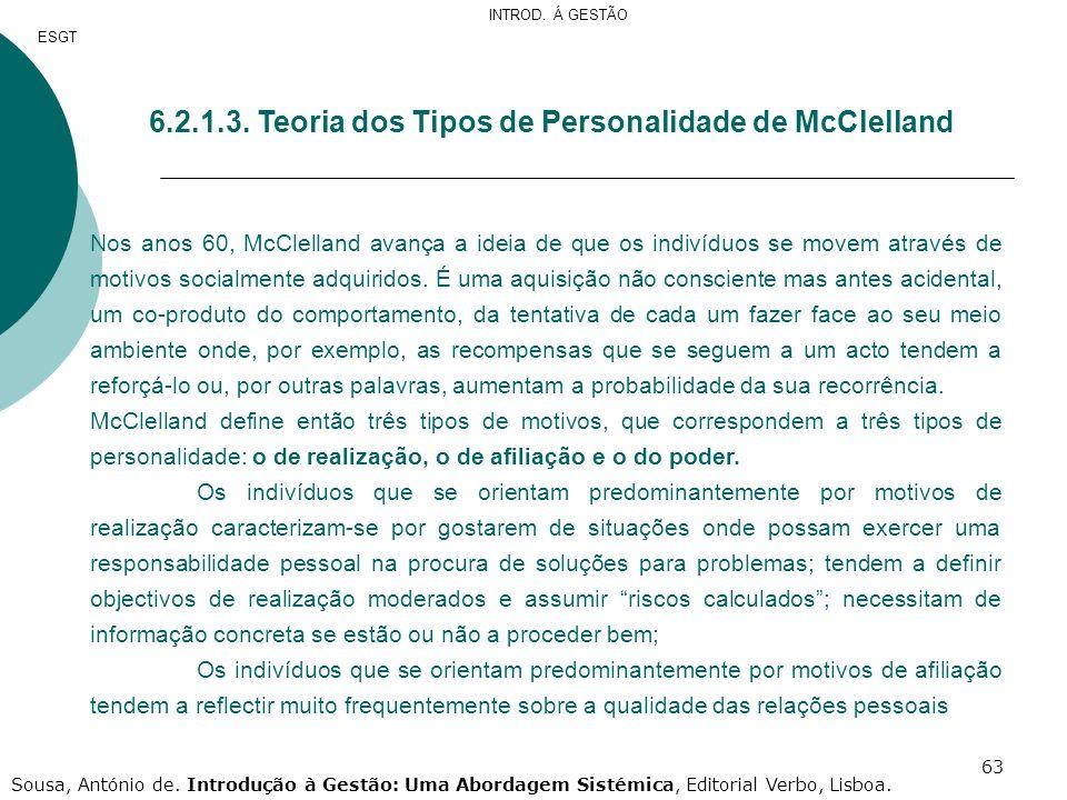 63 6.2.1.3. Teoria dos Tipos de Personalidade de McClelland Nos anos 60, McClelland avança a ideia de que os indivíduos se movem através de motivos so