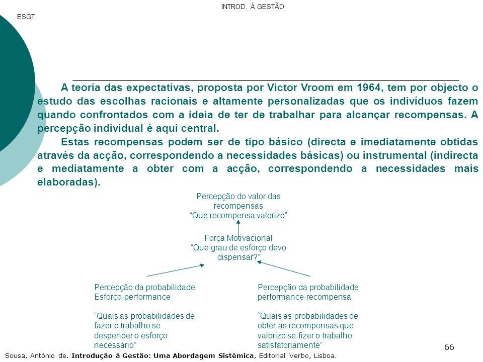 66 A teoria das expectativas, proposta por Victor Vroom em 1964, tem por objecto o estudo das escolhas racionais e altamente personalizadas que os ind