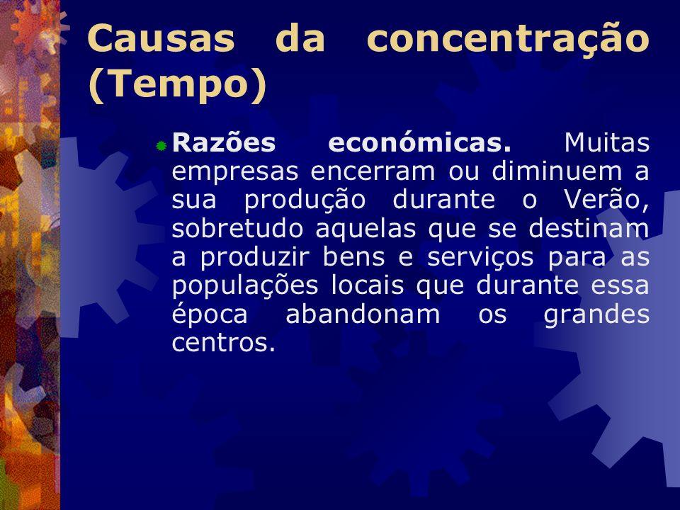 Causas da concentração (Tempo) Razões económicas. Muitas empresas encerram ou diminuem a sua produção durante o Verão, sobretudo aquelas que se destin