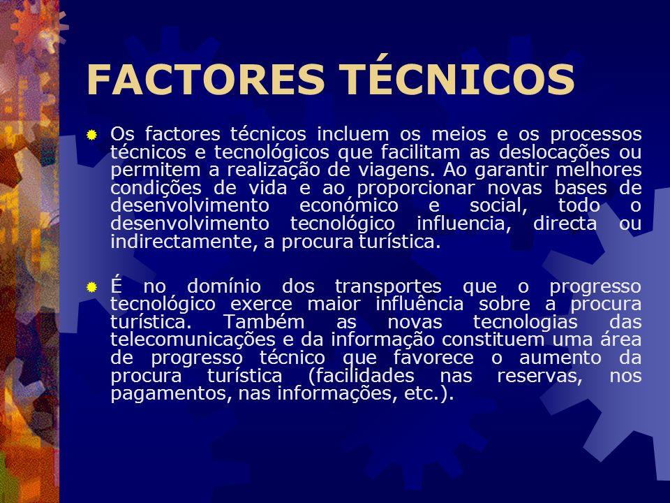 FACTORES TÉCNICOS Os factores técnicos incluem os meios e os processos técnicos e tecnológicos que facilitam as deslocações ou permitem a realização d