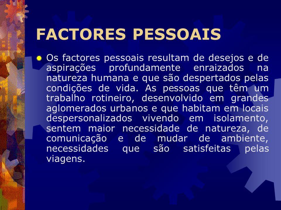 FACTORES PESSOAIS Os factores pessoais resultam de desejos e de aspirações profundamente enraizados na natureza humana e que são despertados pelas con