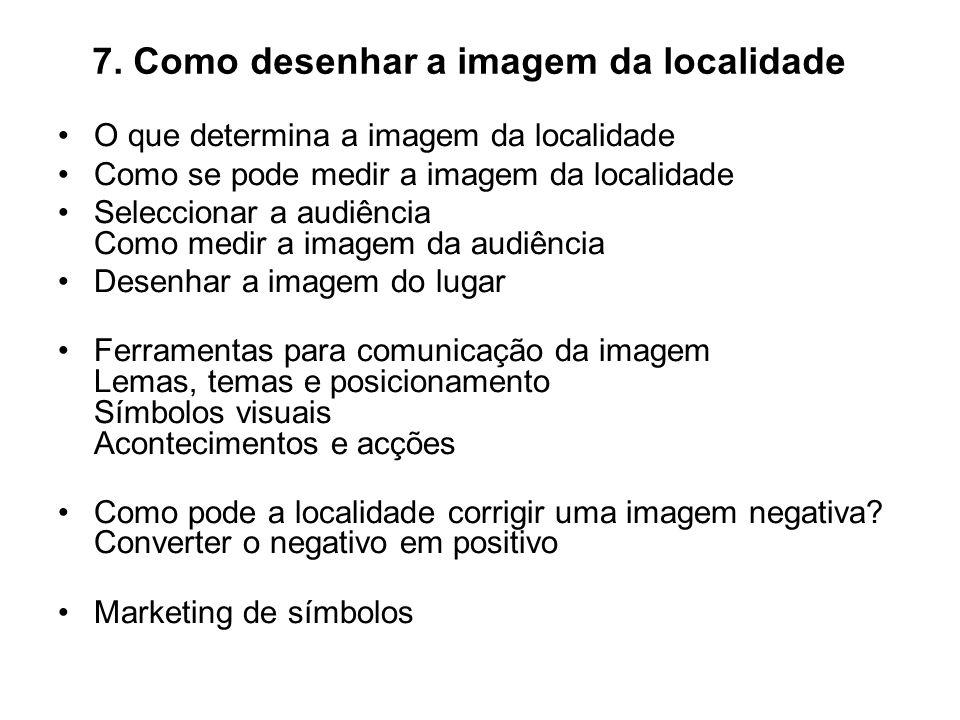 7. Como desenhar a imagem da localidade O que determina a imagem da localidade Como se pode medir a imagem da localidade Seleccionar a audiência Como