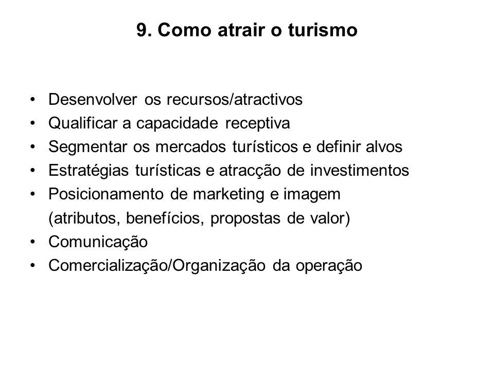 9. Como atrair o turismo Desenvolver os recursos/atractivos Qualificar a capacidade receptiva Segmentar os mercados turísticos e definir alvos Estraté