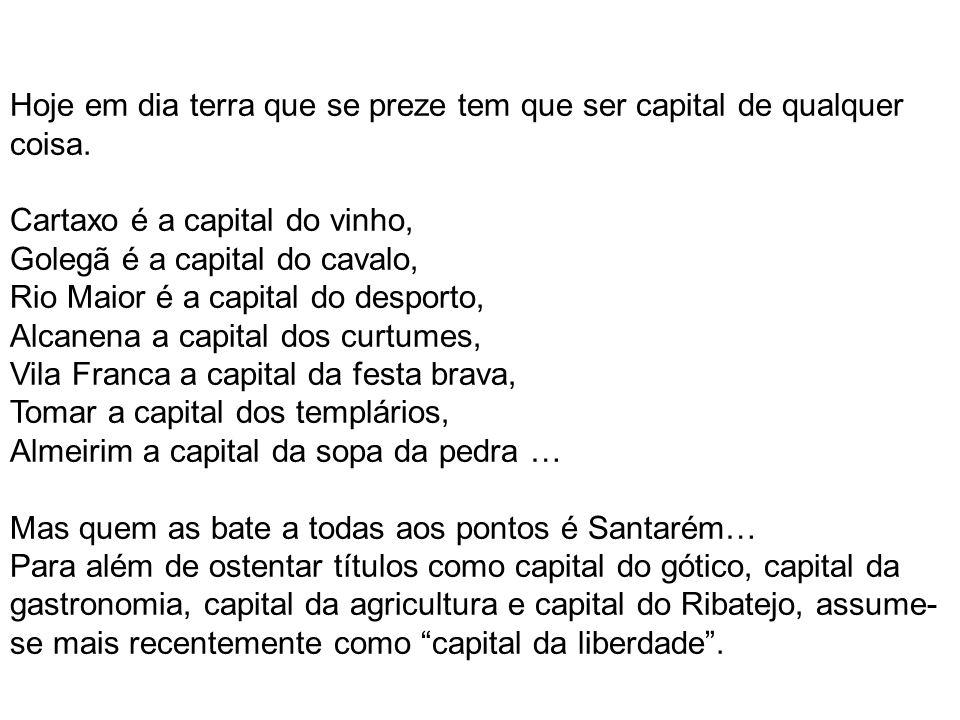 Hoje em dia terra que se preze tem que ser capital de qualquer coisa. Cartaxo é a capital do vinho, Golegã é a capital do cavalo, Rio Maior é a capita