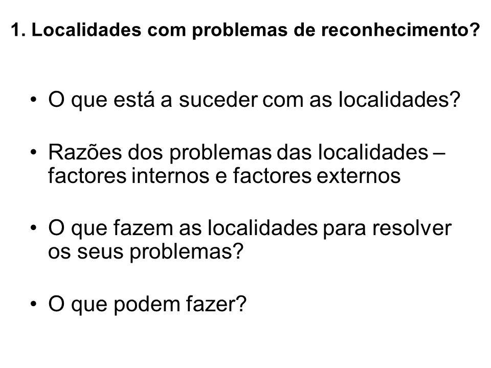1. Localidades com problemas de reconhecimento? O que está a suceder com as localidades? Razões dos problemas das localidades – factores internos e fa