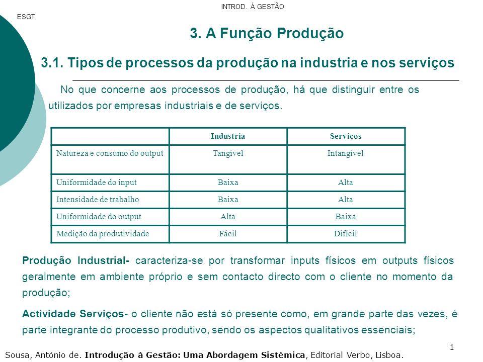 1 3. A Função Produção 3.1. Tipos de processos da produção na industria e nos serviços No que concerne aos processos de produção, há que distinguir en