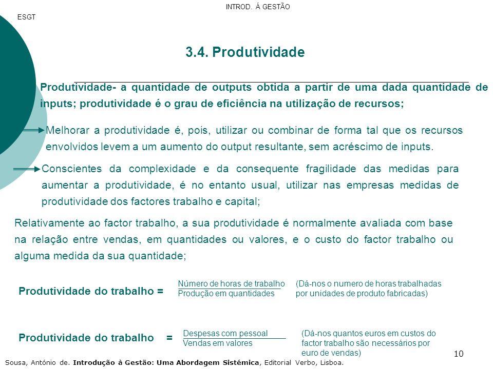 10 3.4. Produtividade Produtividade- a quantidade de outputs obtida a partir de uma dada quantidade de inputs; produtividade é o grau de eficiência na