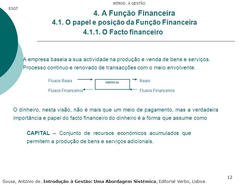 12 4. A Função Financeira 4.1. O papel e posição da Função Financeira 4.1.1. O Facto financeiro A empresa baseia a sua actividade na produção e venda