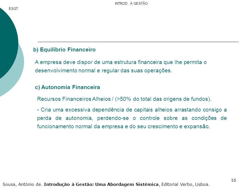 16 b) Equilíbrio Financeiro A empresa deve dispor de uma estrutura financeira que lhe permita o desenvolvimento normal e regular das suas operações. c
