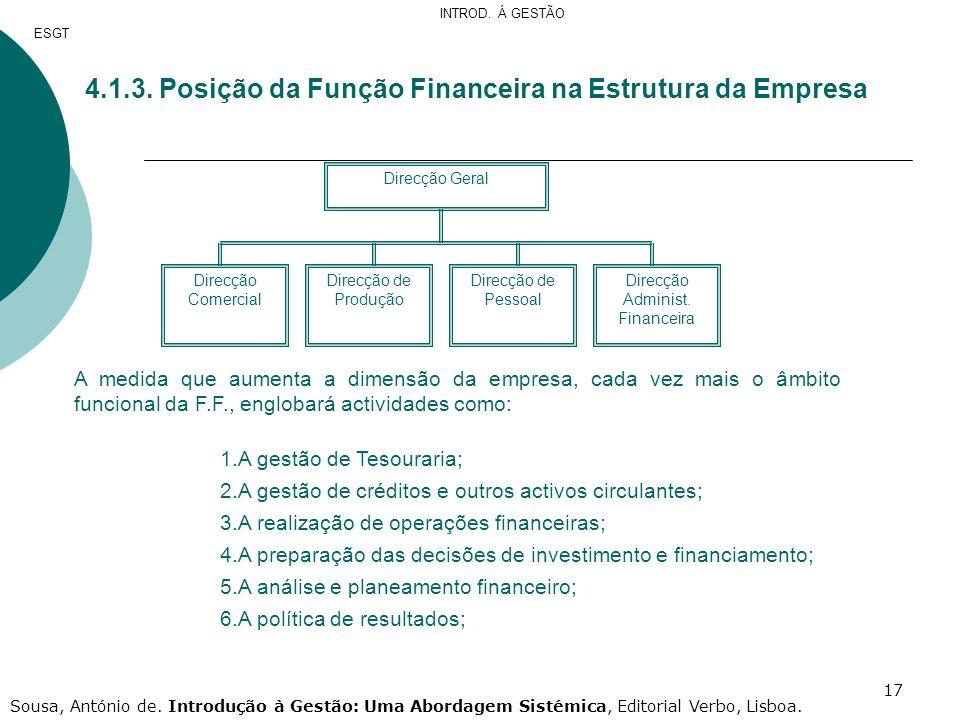 17 Direcção Geral Direcção Comercial Direcção de Pessoal Direcção de Produção Direcção Administ. Financeira 4.1.3. Posição da Função Financeira na Est