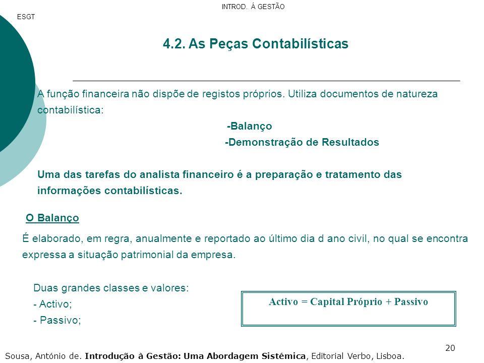20 4.2. As Peças Contabilísticas A função financeira não dispõe de registos próprios. Utiliza documentos de natureza contabilística: -Balanço -Demonst