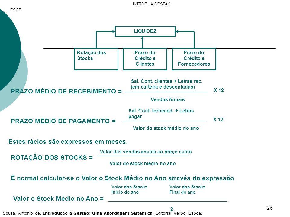 26 LIQUIDEZ Rotação dos Stocks Prazo do Crédito a Clientes Prazo do Crédito a Fornecedores PRAZO MÉDIO DE RECEBIMENTO = Sal. Cont. clientes + Letras r