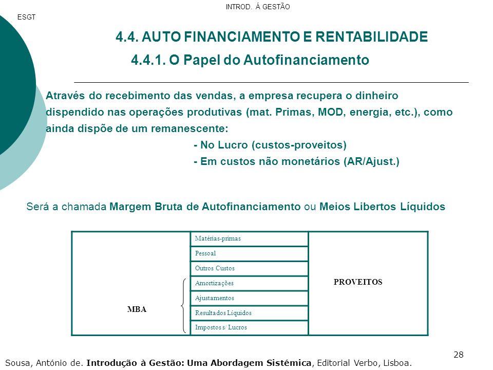 28 4.4. AUTO FINANCIAMENTO E RENTABILIDADE 4.4.1. O Papel do Autofinanciamento Através do recebimento das vendas, a empresa recupera o dinheiro dispen