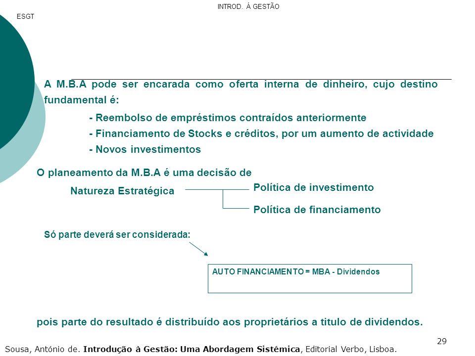 29 A M.B.A pode ser encarada como oferta interna de dinheiro, cujo destino fundamental é: - Reembolso de empréstimos contraídos anteriormente - Financ