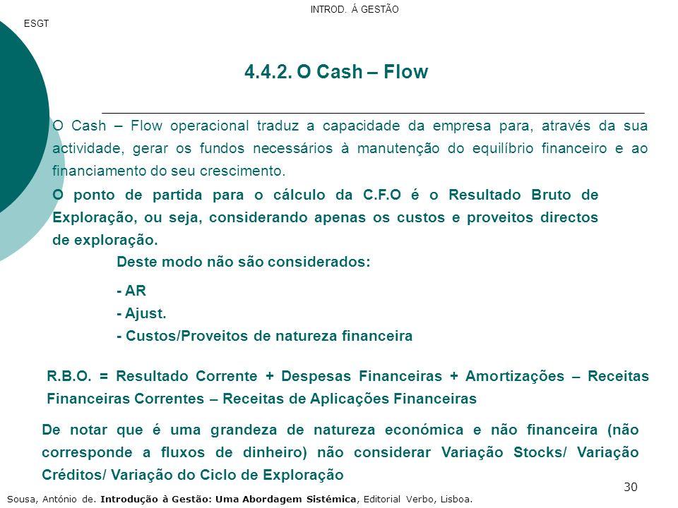 30 4.4.2. O Cash – Flow O Cash – Flow operacional traduz a capacidade da empresa para, através da sua actividade, gerar os fundos necessários à manute