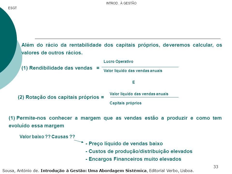 33 Além do rácio da rentabilidade dos capitais próprios, deveremos calcular, os valores de outros rácios. (1) Rendibilidade das vendas= (2) Rotação do