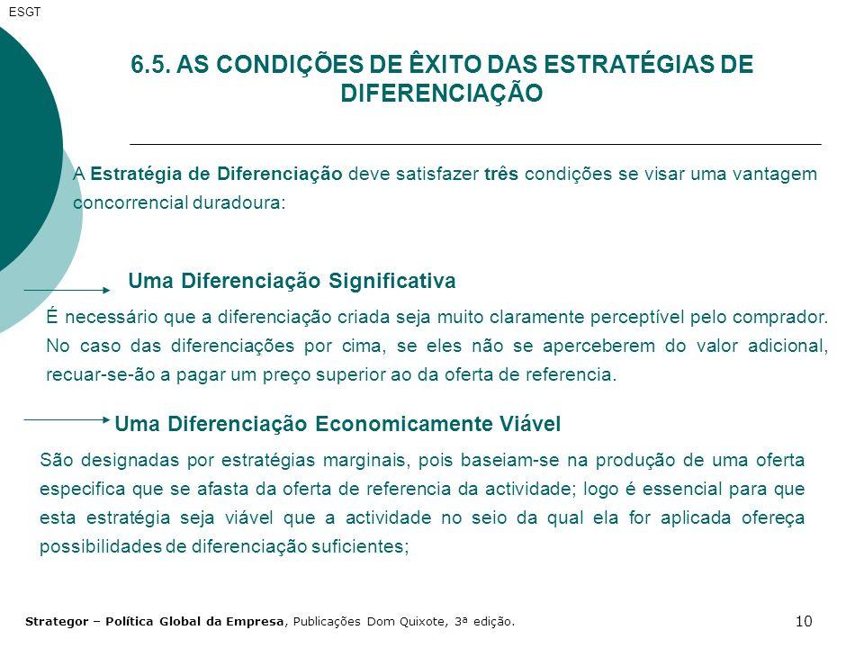 10 6.5. AS CONDIÇÕES DE ÊXITO DAS ESTRATÉGIAS DE DIFERENCIAÇÃO A Estratégia de Diferenciação deve satisfazer três condições se visar uma vantagem conc