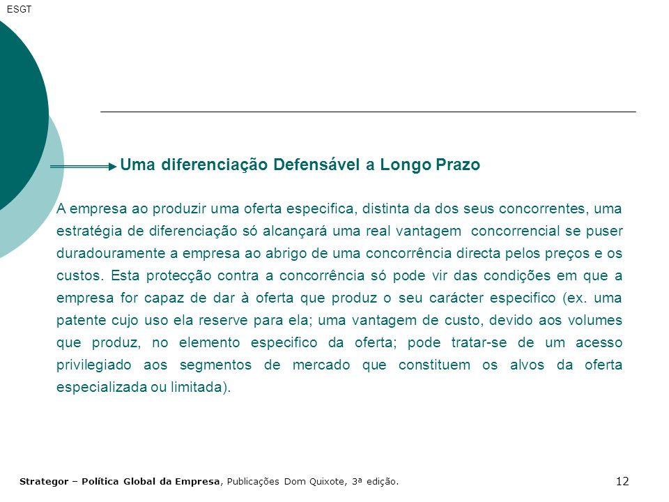 12 Uma diferenciação Defensável a Longo Prazo A empresa ao produzir uma oferta especifica, distinta da dos seus concorrentes, uma estratégia de difere