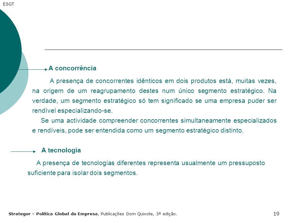 19 A tecnologia A presença de tecnologias diferentes representa usualmente um pressuposto suficiente para isolar dois segmentos. ESGT A concorrência A