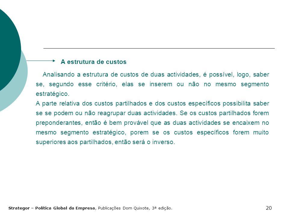 20 Analisando a estrutura de custos de duas actividades, é possível, logo, saber se, segundo esse critério, elas se inserem ou não no mesmo segmento e