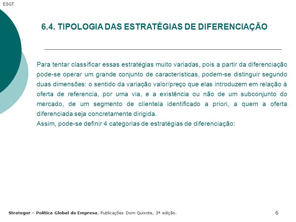 6 ESGT 6.4. TIPOLOGIA DAS ESTRATÉGIAS DE DIFERENCIAÇÃO Para tentar classificar essas estratégias muito variadas, pois a partir da diferenciação pode-s