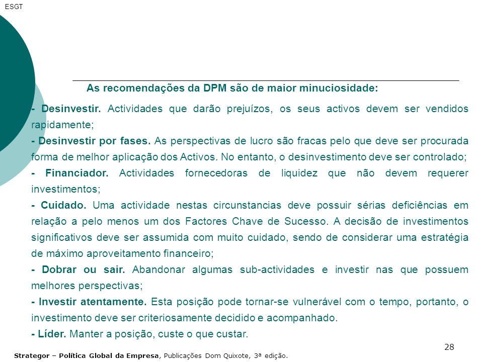28 ESGT As recomendações da DPM são de maior minuciosidade: - Desinvestir. Actividades que darão prejuízos, os seus activos devem ser vendidos rapidam