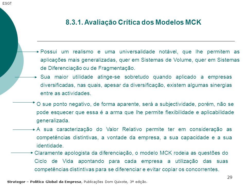 29 ESGT 8.3.1. Avaliação Crítica dos Modelos MCK Possui um realismo e uma universalidade notável, que lhe permitem as aplicações mais generalizadas, q