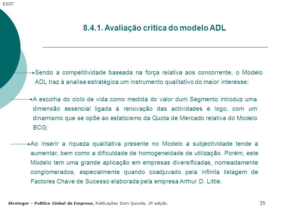 35 ESGT 8.4.1. Avaliação critica do modelo ADL Sendo a competitividade baseada na força relativa aos concorrente, o Modelo ADL traz à analise estratég