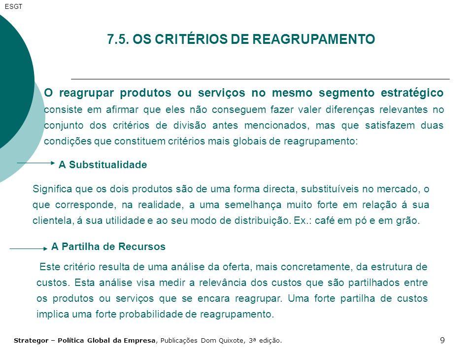 9 ESGT 7.5. OS CRITÉRIOS DE REAGRUPAMENTO O reagrupar produtos ou serviços no mesmo segmento estratégico consiste em afirmar que eles não conseguem fa