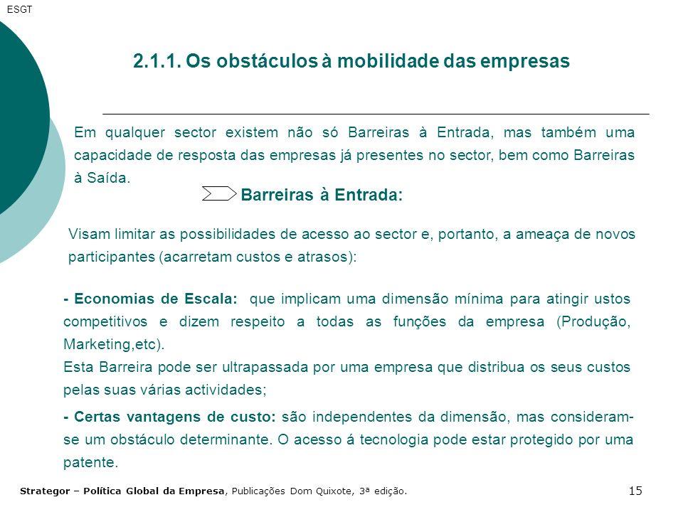 15 2.1.1. Os obstáculos à mobilidade das empresas Em qualquer sector existem não só Barreiras à Entrada, mas também uma capacidade de resposta das emp