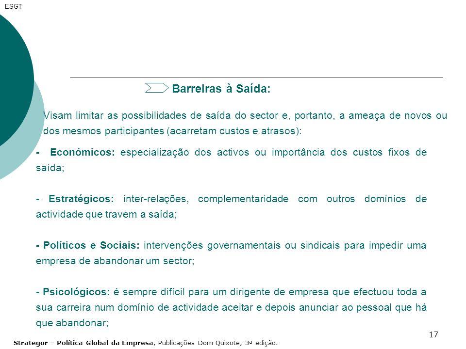 17 Barreiras à Saída: Visam limitar as possibilidades de saída do sector e, portanto, a ameaça de novos ou dos mesmos participantes (acarretam custos
