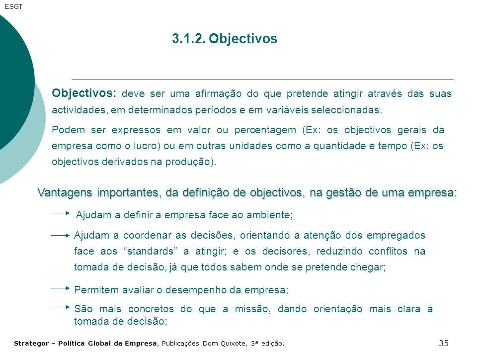 35 3.1.2. Objectivos Objectivos: deve ser uma afirmação do que pretende atingir através das suas actividades, em determinados períodos e em variáveis
