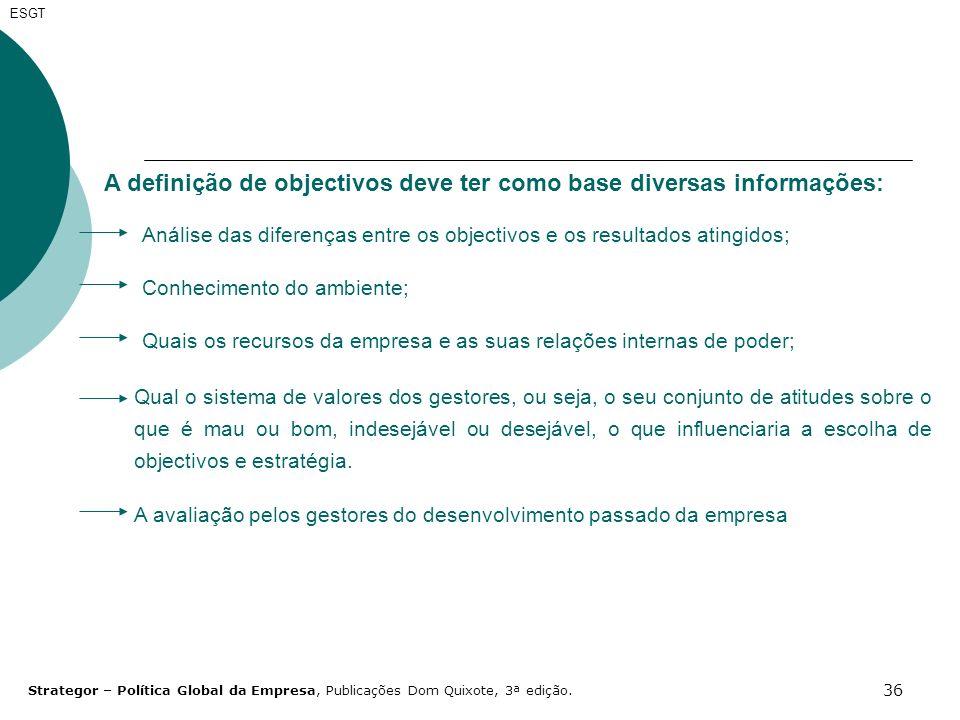 36 ESGT A definição de objectivos deve ter como base diversas informações: Análise das diferenças entre os objectivos e os resultados atingidos; Conhe