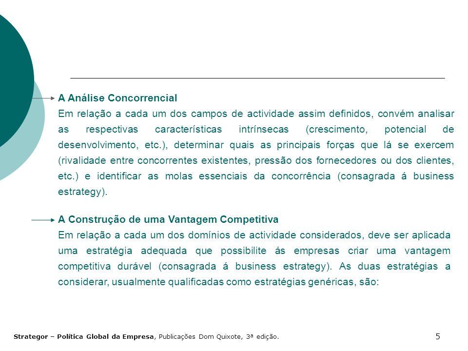 5 A Análise Concorrencial Em relação a cada um dos campos de actividade assim definidos, convém analisar as respectivas características intrínsecas (c