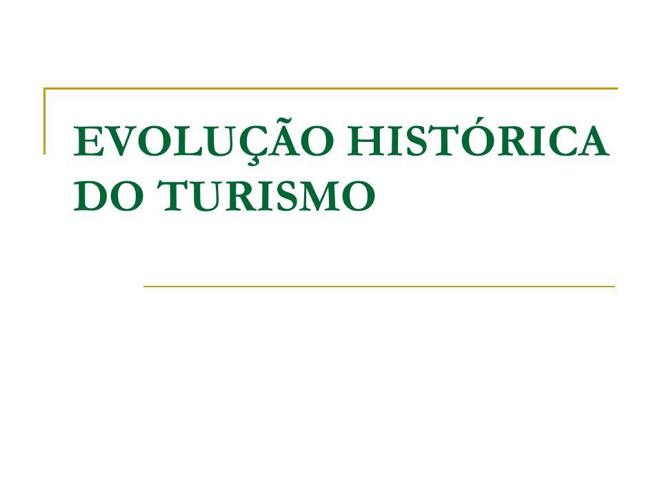IDADE CONTEMPORÂNEA O desenvolvimento dos transportes, o reconhecimento do direito às férias pagas, a criação de organizações nacionais e internacionais destinadas a promover o turismo e as novas ideias levaram a que, a partir do inicio do século XX, o turismo passasse a ser considerado como uma actividade económica relevante.