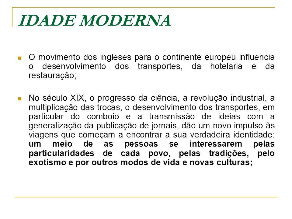IDADE MODERNA O movimento dos ingleses para o continente europeu influencia o desenvolvimento dos transportes, da hotelaria e da restauração; No sécul