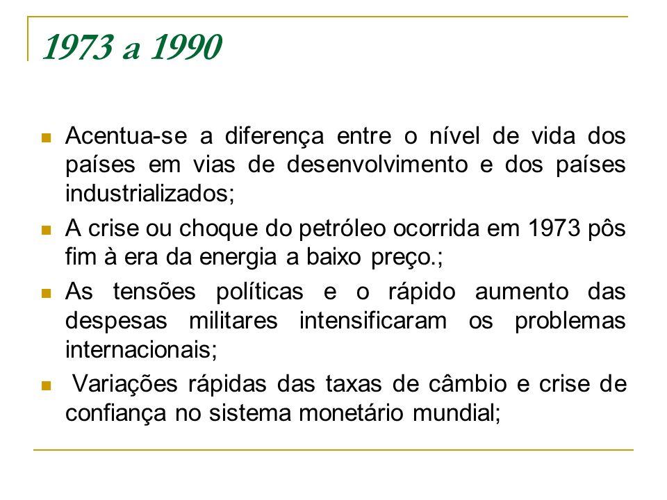 1973 a 1990 Acentua-se a diferença entre o nível de vida dos países em vias de desenvolvimento e dos países industrializados; A crise ou choque do pet
