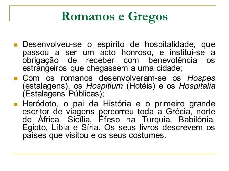 Romanos e Gregos Desenvolveu-se o espírito de hospitalidade, que passou a ser um acto honroso, e institui-se a obrigação de receber com benevolência o