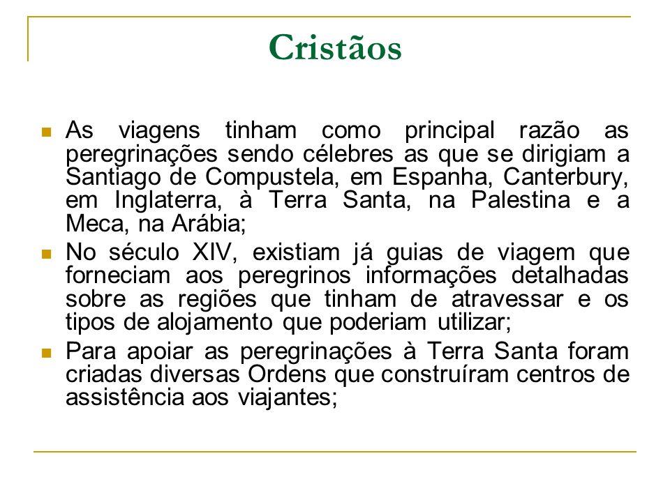 Cristãos As viagens tinham como principal razão as peregrinações sendo célebres as que se dirigiam a Santiago de Compustela, em Espanha, Canterbury, e