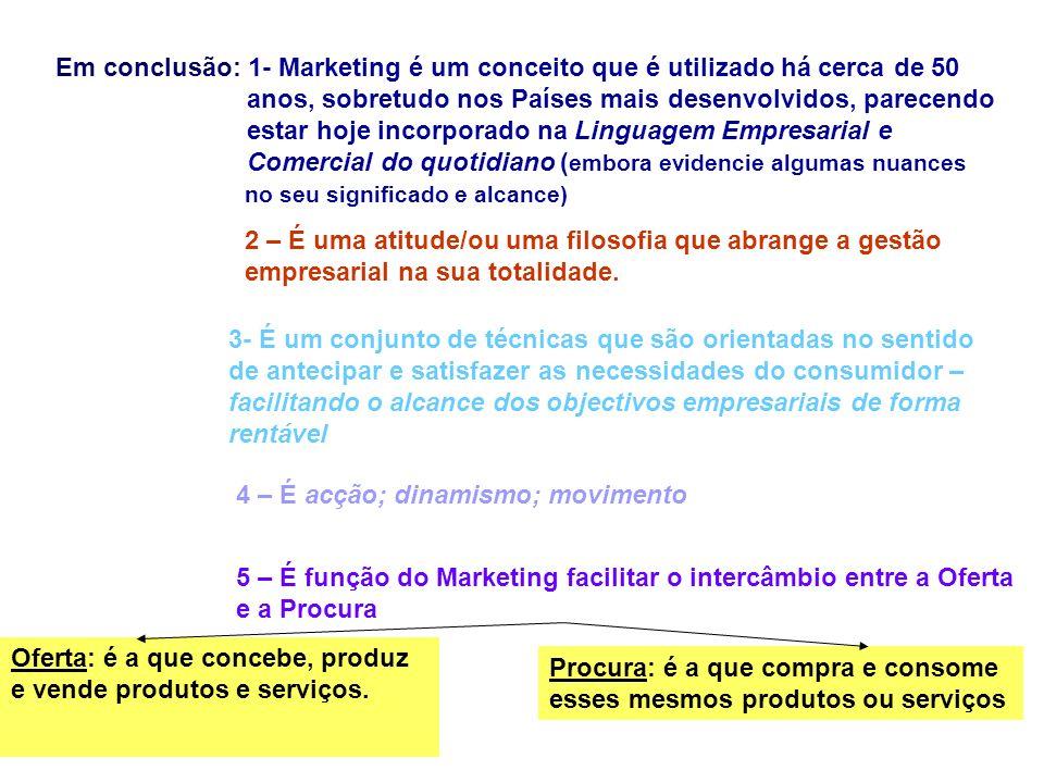 Em conclusão: 1- Marketing é um conceito que é utilizado há cerca de 50 anos, sobretudo nos Países mais desenvolvidos, parecendo estar hoje incorporad