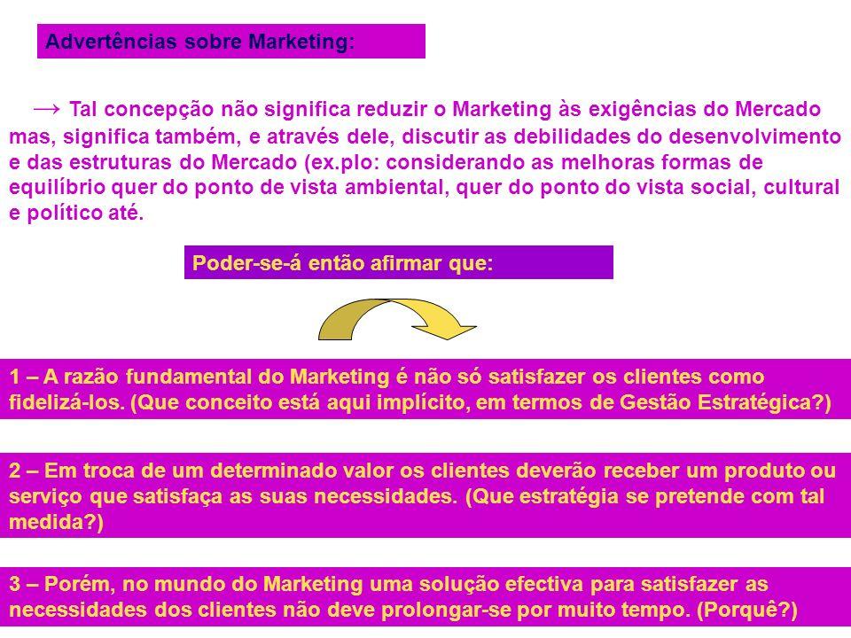 Advertências sobre Marketing: Tal concepção não significa reduzir o Marketing às exigências do Mercado mas, significa também, e através dele, discutir