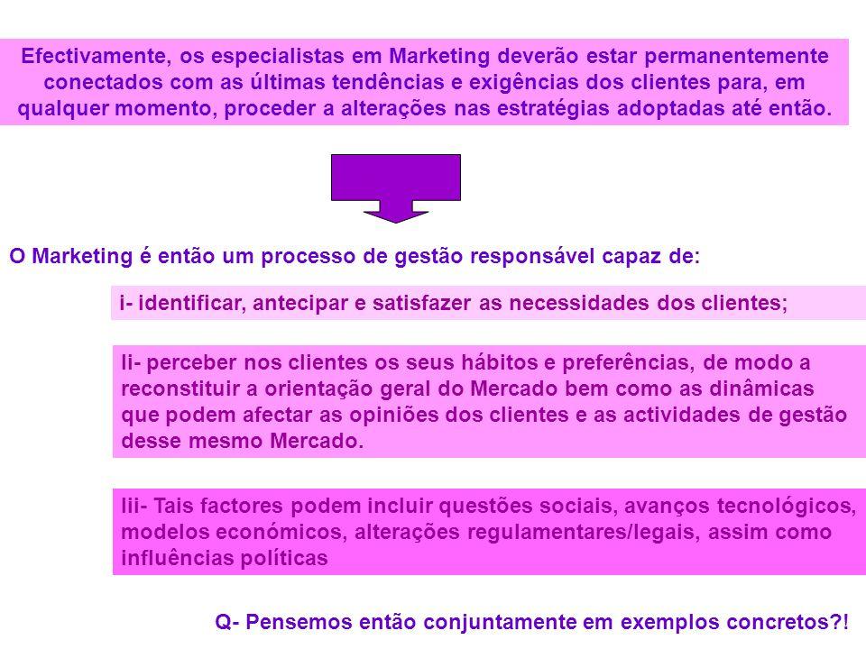 Efectivamente, os especialistas em Marketing deverão estar permanentemente conectados com as últimas tendências e exigências dos clientes para, em qua