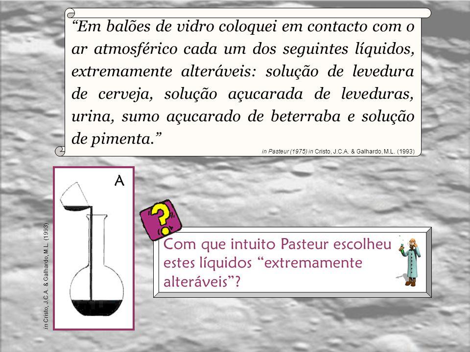 Pasteur (1822 – 1895), químico e biólogo francês realizou uma série de experiências, hoje justamente célebres uma vez que vieram por um ponto final na