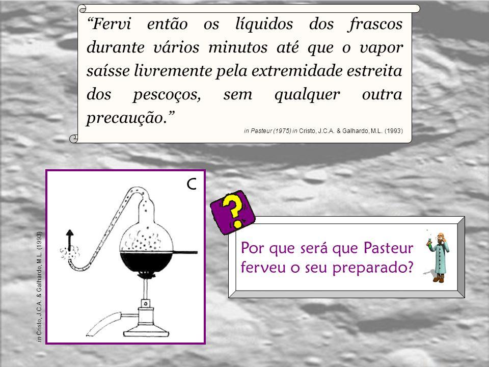 Em seguida alonguei os pescoços dos balões à chama de tal modo que ficassem com um certo número de curvas. in Pasteur (1975) in Cristo, J.C.A. & Galha