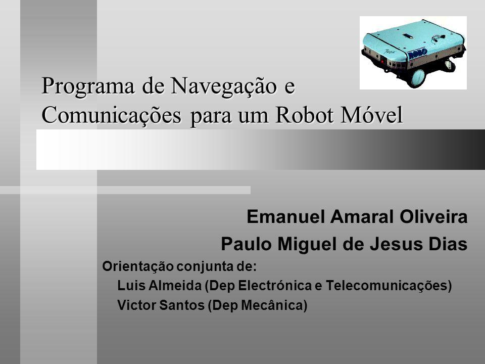 Programa de Navegação e Comunicações para um Robot Móvel Emanuel Amaral Oliveira Paulo Miguel de Jesus Dias Orientação conjunta de: Luis Almeida (Dep