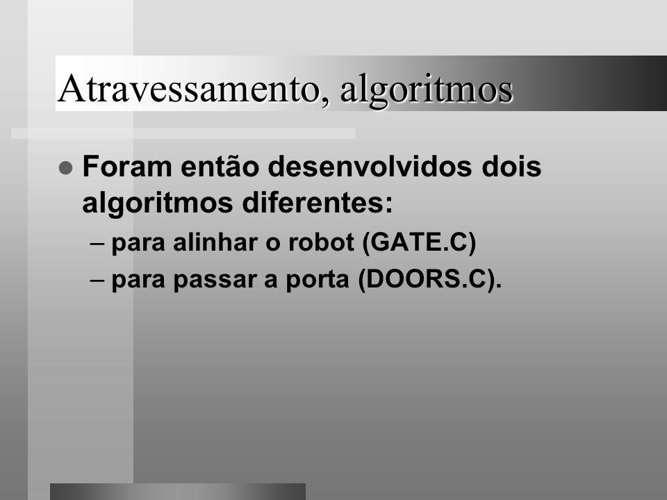 Atravessamento, algoritmos Foram então desenvolvidos dois algoritmos diferentes: –para alinhar o robot (GATE.C) –para passar a porta (DOORS.C).