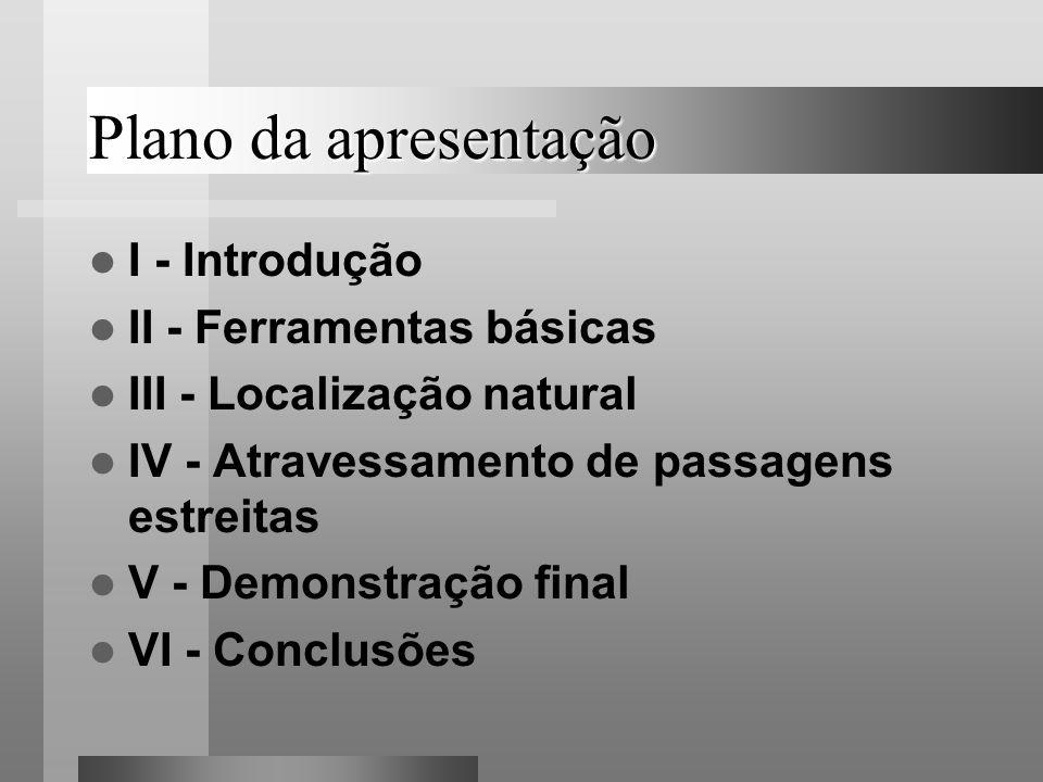 Plano da apresentação I - Introdução II - Ferramentas básicas III - Localização natural IV - Atravessamento de passagens estreitas V - Demonstração fi
