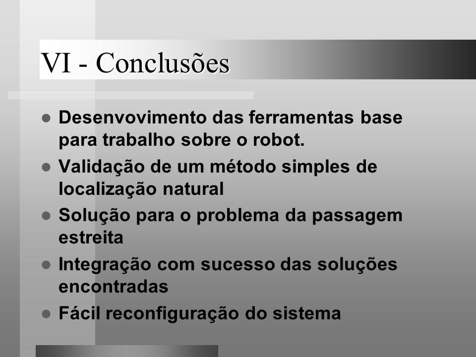 VI - Conclusões Desenvovimento das ferramentas base para trabalho sobre o robot. Validação de um método simples de localização natural Solução para o
