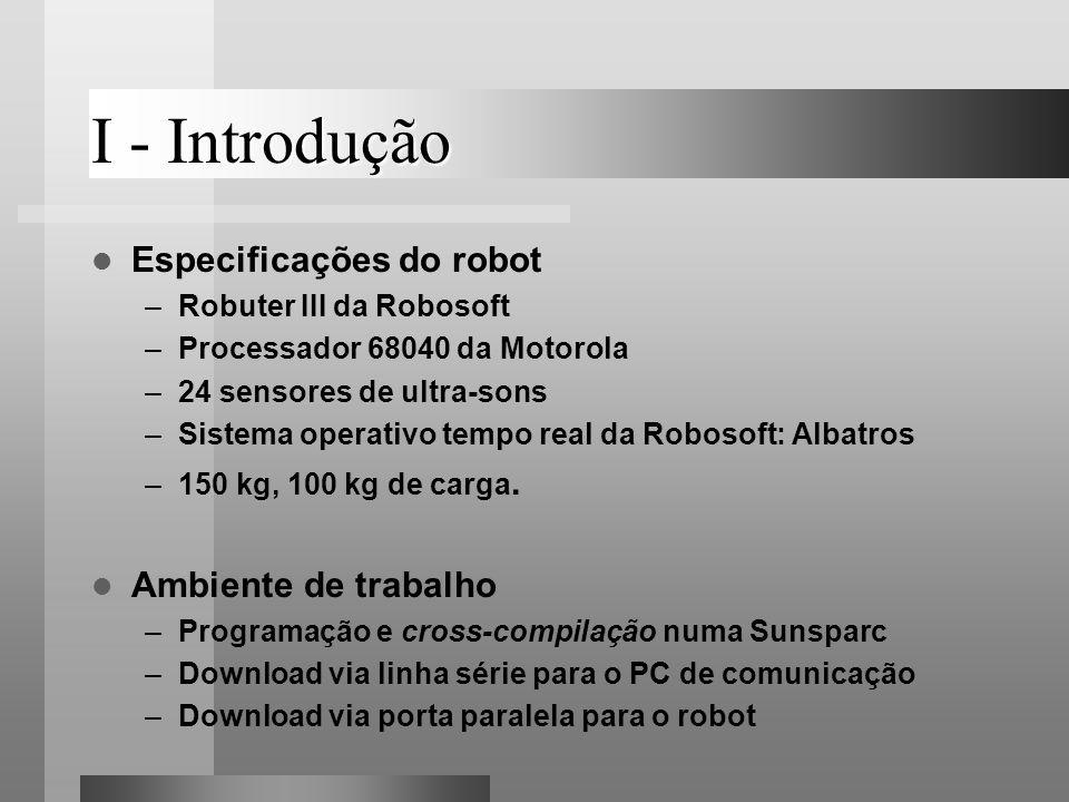 I - Introdução Especificações do robot –Robuter III da Robosoft –Processador 68040 da Motorola –24 sensores de ultra-sons –Sistema operativo tempo rea