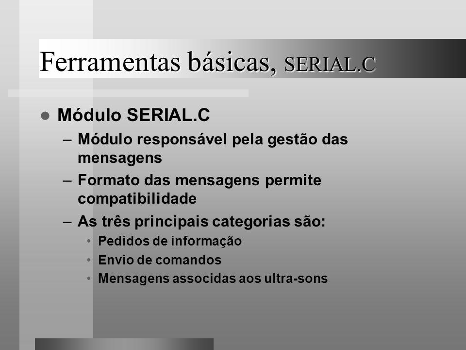 Ferramentas básicas, SERIAL.C Módulo SERIAL.C –Módulo responsável pela gestão das mensagens –Formato das mensagens permite compatibilidade –As três pr